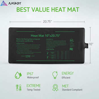 AMKOY Waterproof Seedling Heat Mat Plant Seed Germination Propagation Clone Seed Starting Planter Warm Pad Heating Mat