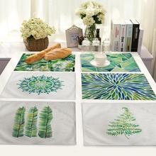 10pcs Cotton Napkins Linen Napkin Fabric Table Cloth Napkins Decorated Leaf Individual Placemats For Kitchen Breakfast Placemats