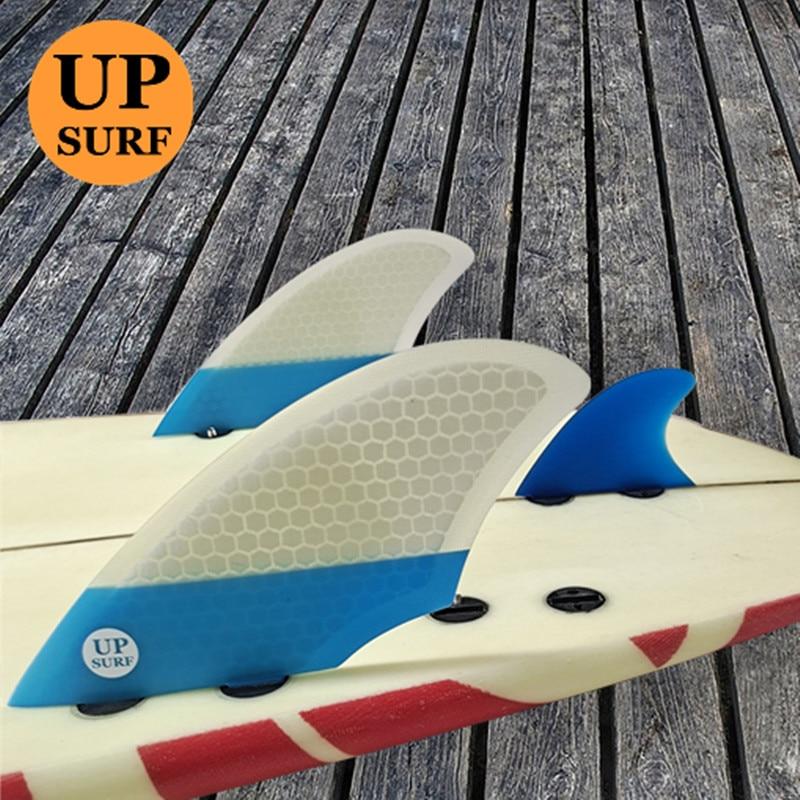 UPSURF Planche De Surf FCS II Tri-Quad Fin Set Fibre De Verre Rayon De Miel pour Surf Paddle Board