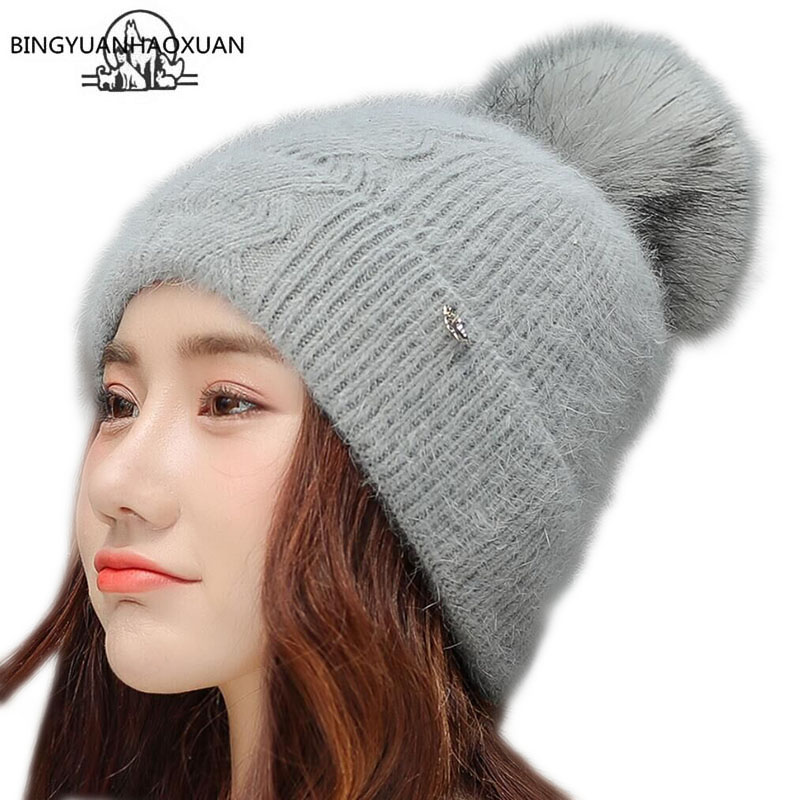 BINGYUANHAOXUAN Rabbit Fur Knitted Hat Cap Winter Women's Hat Warm Wool Beanie Hairball Hat Outdoor Sport Skullies Beanies Gorro