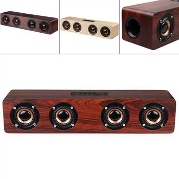 W8 4 Horns 12W Wooden Wireless Bluetooth TV Speaker with TF Card Playback and AUX Wired Connection for Smart Phone PC Television