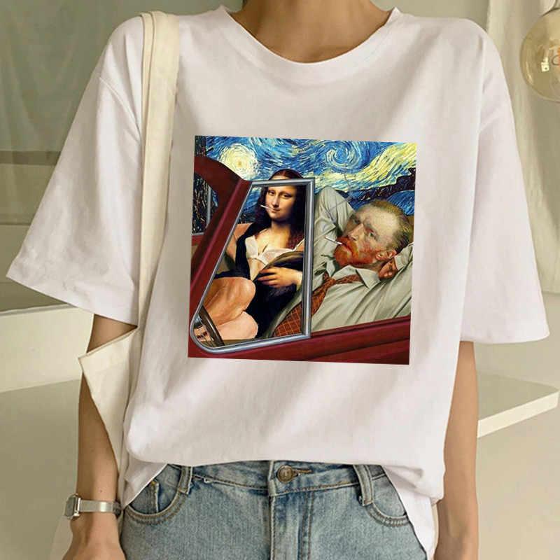 2020 estetik Van Gogh baskı t-shirt Harajuku Vintage giyim kadın kısa kollu Tee sanat üst Vintage japon tarzı Streetwear