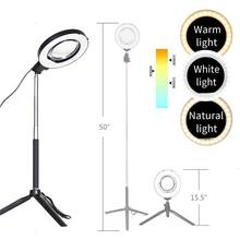 "Dimmable Anello di Luce Luce Regolabile in Altezza Stand Selfie Stick USB Spina di 10 ""3200 K ~ 5500K Lampada Mini treppiede Morsetto Telefono per YouTube(China)"