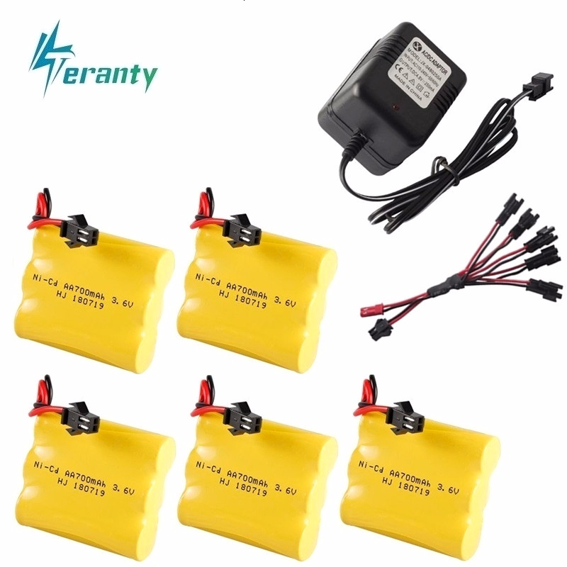 Upgrade 3.6v 700mah NiCD Battery + Charger For Rc Toys Cars Tanks Trucks Robot Gun Boat AA Ni-CD 3.6v Rechargeable Battery Pack