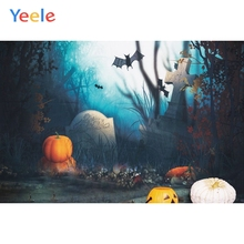 Yeele Photophone Halloween Backdrop Pumpkin Lantern Moon Bat Forest Tombstone Vinyl Photography Background For Photo Studio