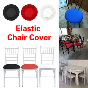 Spandex Elastic Round Chair Cover Quilted Solid Color Slipcovers Dining Seat Cover For High Chair With Back(China)
