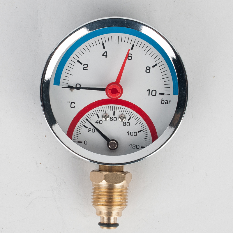 6 Bar 10 Bar 16 Bar Temperature Pressure Gauge Meter G1/4 Thread Thermometer