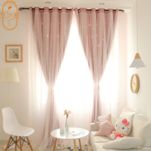 Korean Double Pink Princess Curtains for  Living Room Hollow Stars Lace Curtain for  Bedroom Shade Curtain Tulle Cloth