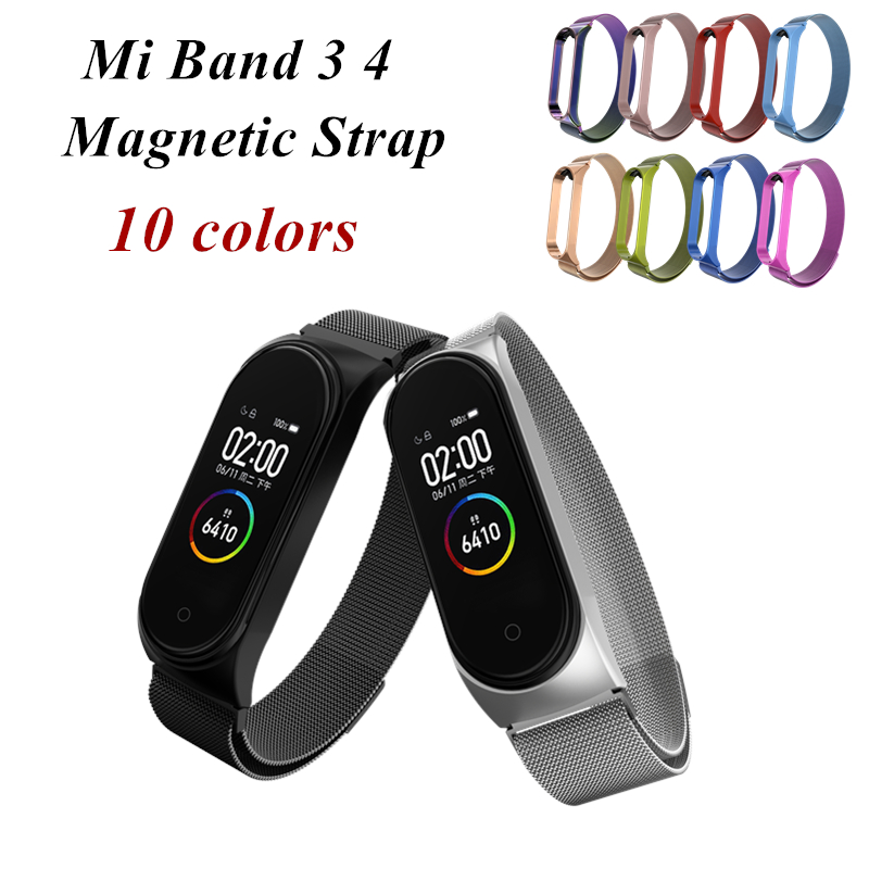 Mi Band 3 4 Magnetic Strap Wrist Metal Screwless Stainless Steel Miband 4 3 Wristbands Strap For Xiaomi Mi Band 4 3 Bracelet