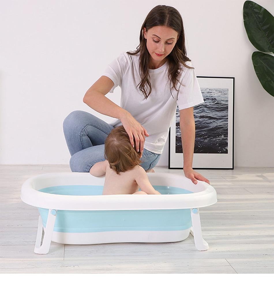 Easy Folding Baby Bath Tub With Non slip Cushion For Safe New Born Baby Bath Tub 8