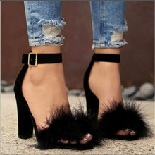 Pumps-Shoes Buckle-Strap Thick Heel High-Sandals Plus-Size Women Flock Solid Party Fur