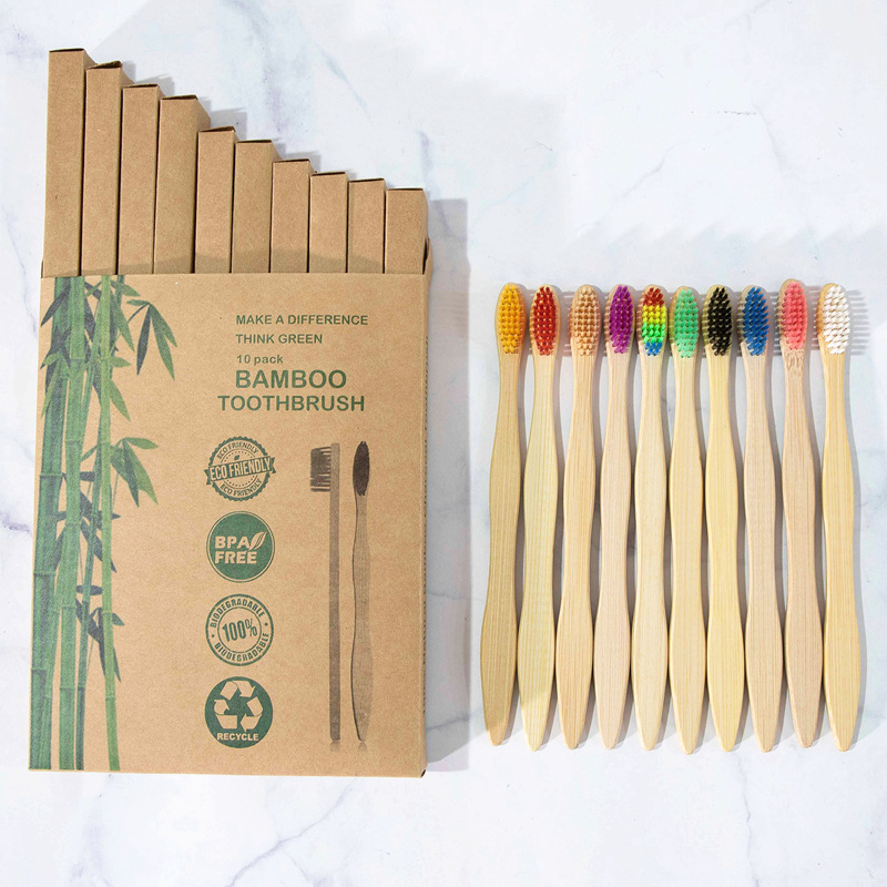 10PCS Colorful Natural Bamboo Toothbrush Set Soft Bristle Charcoal Teeth Whitening Bamboo Toothbrushes Soft Dental Oral Care