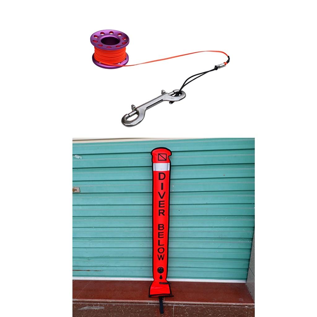 Tubo de señal de boya marcador de superficie SMB de buceo con carrete de buceo equipo de engranaje de seguridad-Varios Colores - 5