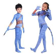 2019 Avatar 2 Cosplay kostüm yetişkin çocuklar Zentai Bodysuit kahraman tulumlar Cosplay cadılar bayramı çocuklar erkek kız parti kostüm