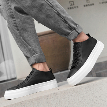 2019 New Fashion Men Sneakers Thick Soled Leather Shoes Men Comfortable Casual Shoes For Youth Good Quality Men Lace Up Sneakers
