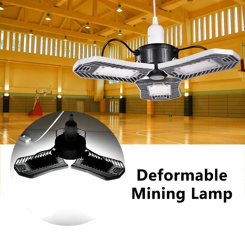 85-265V 80W LED Garage Lights E26/E27 216LED Deformable Ceiling Lights Industrial Workshop Warehouse Garage Light Mining Lamp