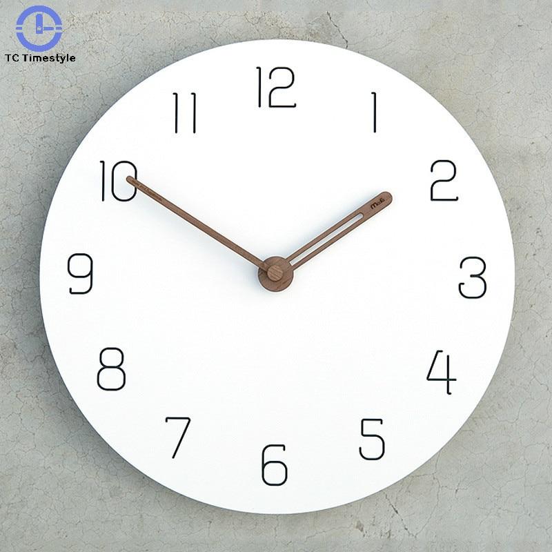 12 Inch Wall Clock Living Room Mute American Personality Decoration Quartz Clocks Decorative Bedroom Wooden Modern Silent Simple