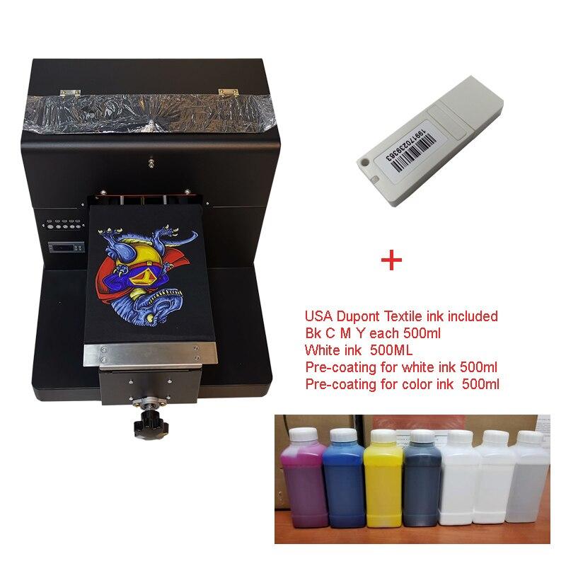 A4 Formato DTG Stampante T-Shirt per la Stampa di Colore Chiaro Scuro Indumento Flatbed macchina Stampante