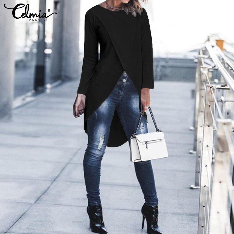 Women Fashion Asymmetric Tops Shirts Celmia 2020 Autumn Casual Long Sleeve Loose Blouse Plus Size Solid Knitted Blusas Femininas