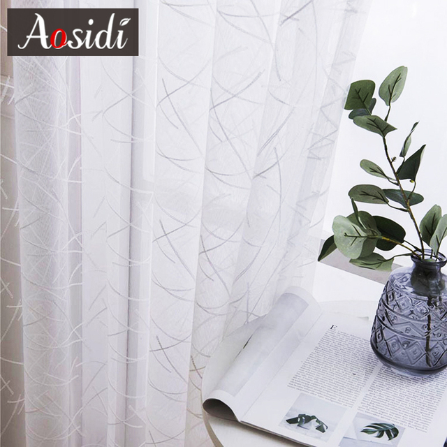 Geometry White Embroidered Tulle Curtains 4