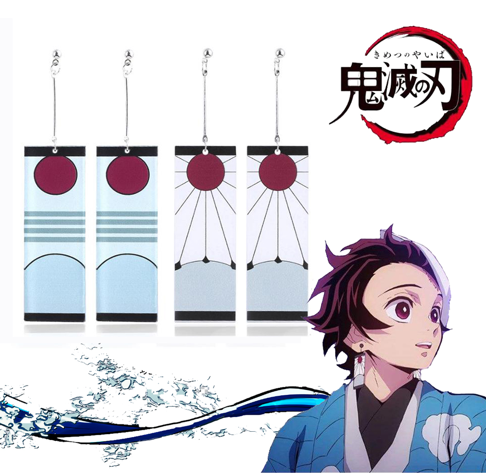2019 Hot Earrings Demon Slayer Kimetsu No Yaiba Earrings Kamado Tanjirou Japanese Cosplay Props Ear Stud Eardrops
