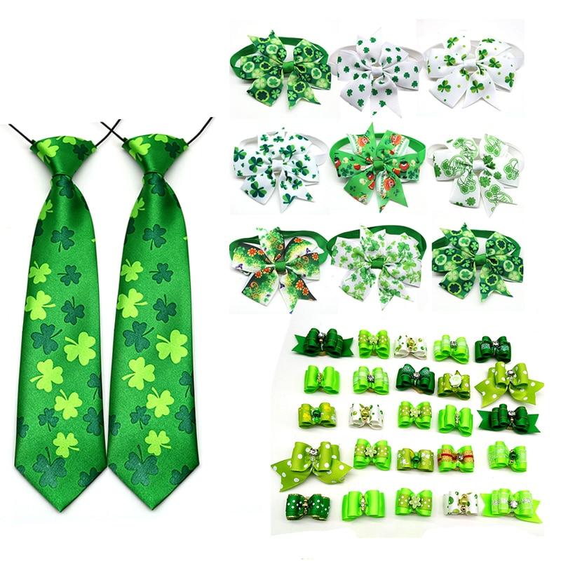 30 Pcs Cat font b Pet b font Dog Bow Tie Necktie St Patrick s day