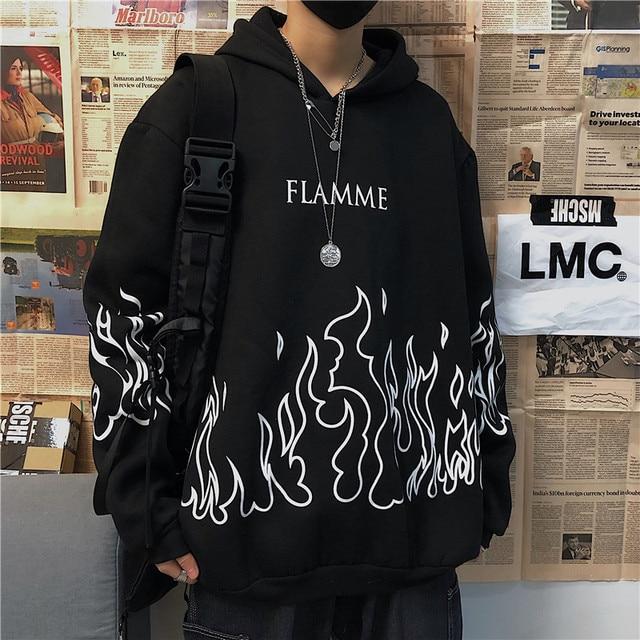 Kpop retro flame print hoodie Korean version ins Harajuku bf style street hip-hop loose plus velvet sweatshirt for men and women 4
