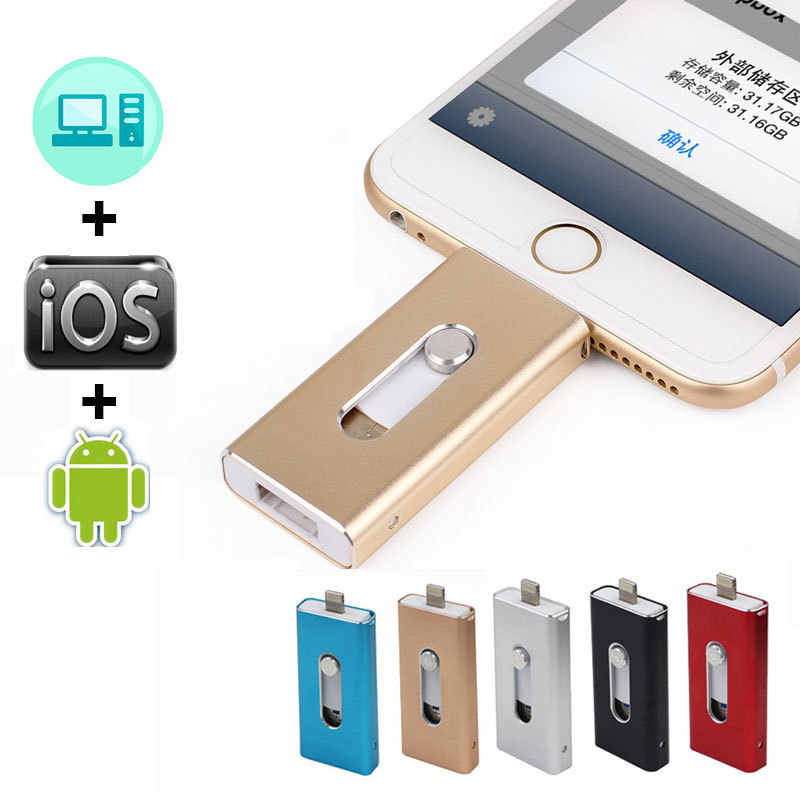 OTG USB Flash Drive สำหรับ iPhone X/XS/8/7 Plus iPad Metal Pendrive HD Memory Stick 8GB 16GB 32GB 64GB 128GB แฟลชไดรฟ์ USB 2.0