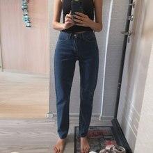 Винтажные джинсы с высокой талией женские обтягивающие черные синие Джинсы бойфренда Для Мамы Женские джинсовые женские брюки уличная одежда