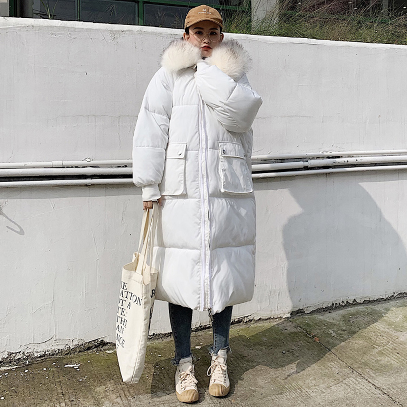 Solid Fur Hooded Long Winter   Down     Coats   Women Plus Size Thicken Warm Loose Cotton Jackets Korean Female Fashion Windproof Parkas