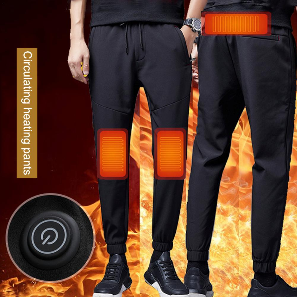 Big Size <font><b>6XL</b></font> USB Intelligence Heating Pants Outdoor Camping Windproof <font><b>Men</b></font> Women Warm Belly Knee Brace Electrothermal Pants image