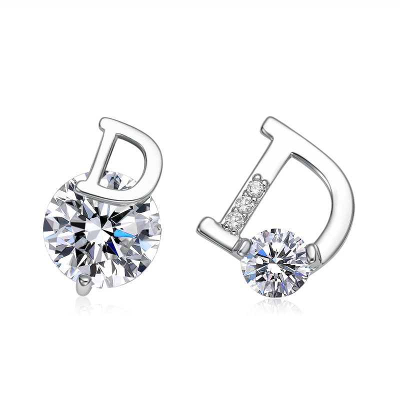 New Silver Color Letter D Stud Earrings For Women Fashion Shiny CZ Crystal Earrings Jewelry Christmas Gift for Girls