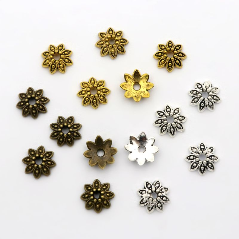 100Pcs 8 Petals Flower Loose Sparer End Bead Caps For Jewelry Making Finding Diy Bracelet Accessories Component Wholesale Supply