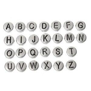 8 estações de zinco base liga espaçador grânulos liso redondo antigo prata cor misturada alfabeto/letra
