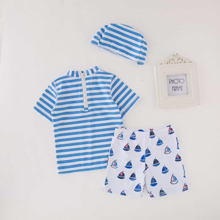 Men's Two-piece Swimsuits Short Sleeve Sailboat Swimwear Children KID'S Swimwear Beach Quick-Dry Coat Send Swim Cap