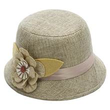 New Elegant Solid Color Women Floral Ribbon Linen Bowler Sun Hat Fedoras Bucket Cap(China)
