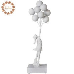 Image 1 - 고급스러운 풍선 소녀 동상 Banksy 비행 풍선 소녀 예술 조각 수 지 공예 홈 장식 크리스마스 선물 57cm
