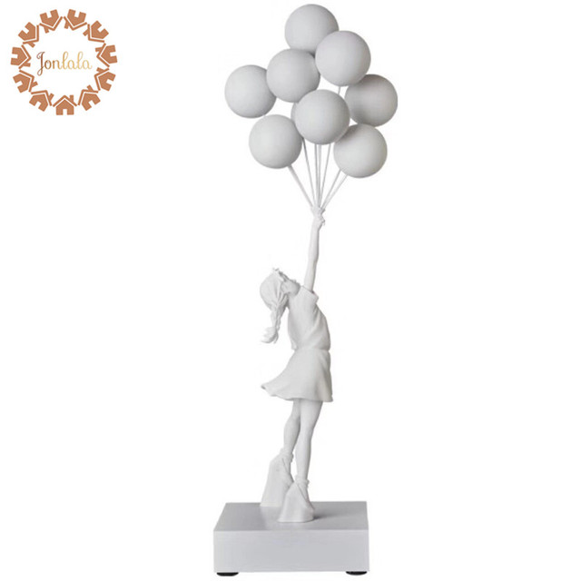 고급스러운 풍선 소녀 동상 Banksy 비행 풍선 소녀 예술 조각 수 지 공예 홈 장식 크리스마스 선물 57cm