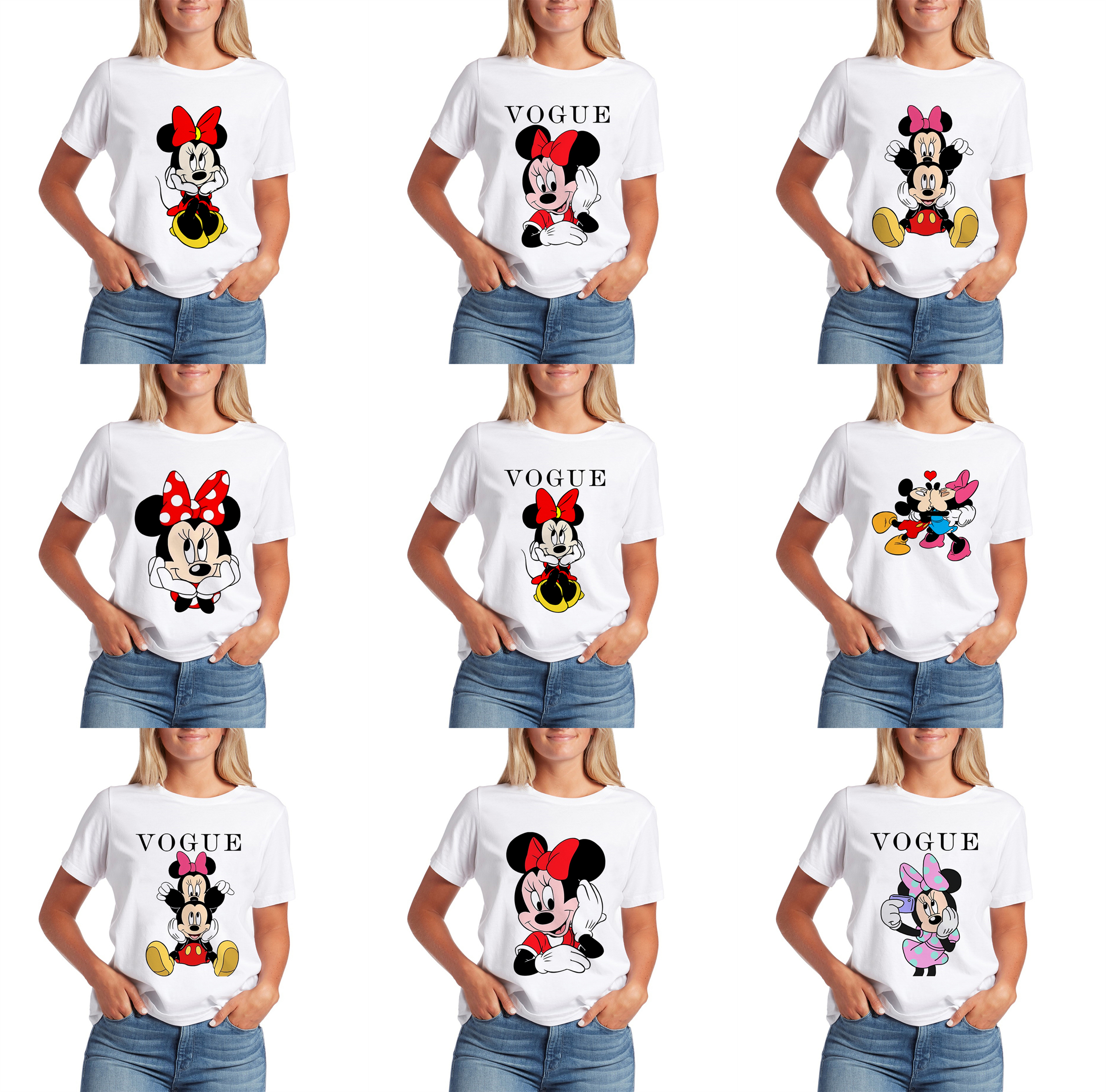 Pretty Fashion Tops Lively Lovely Summer Women Minnie Shirts Mickey Kawaii T-shirt S-XXL Funny TShirt Graphic Tees Women