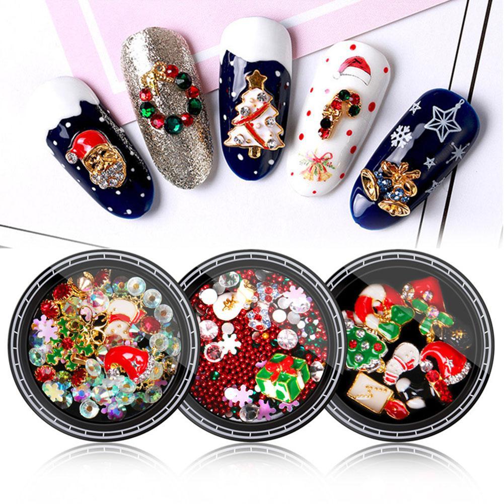 Joyería de uñas de zoológico azul lentejuelas resplandecientes diamantes de imitación para uñas Santa Claus copo de nieve espárragos mixtos herramientas de manicura DIY