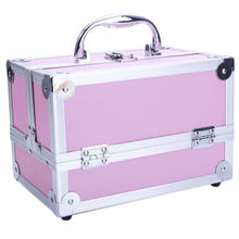 "SM-2176 Aluminum Makeup Organizer Train Case Jewelry Box Cosmetic Organizer with Mirror 9""x6""x6"" Pink Desktop Storage Box(China)"