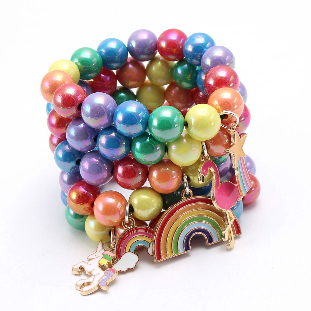Rainbow Color Acrylic Beads Bracelets With Alloy Pendant Kids/Girls/Children DIY Bead Bracelet Fashion Birthday Gift