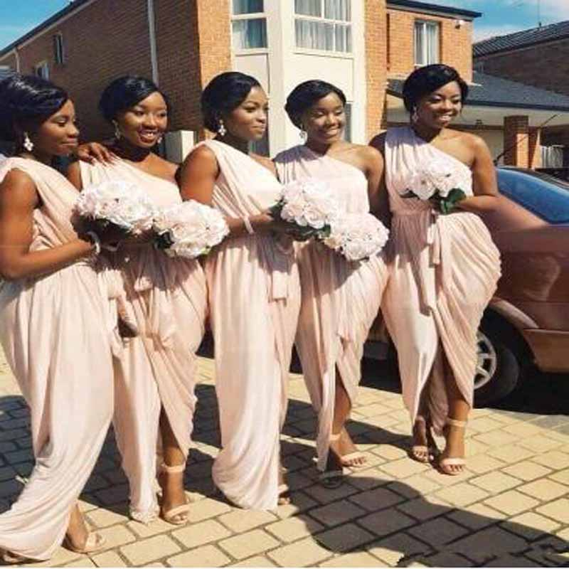 Elegant One Shoulder Pleat Mermaid   Bridesmaid     Dresses   Simple Sleeveless Scoop Neck Chiffon Floor Length Wedding Party Gown