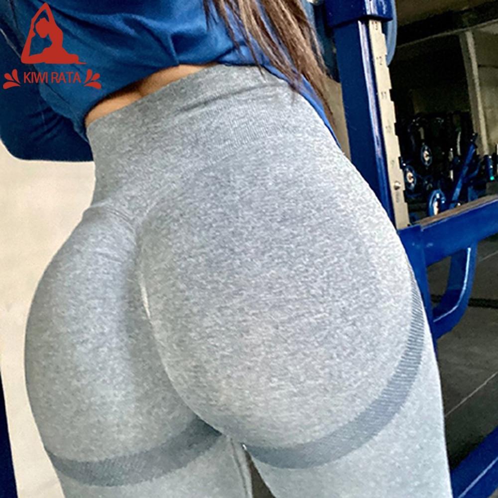 Спортивные леггинсы KIWI RATA, женские бесшовные штаны для йоги, эластичные компрессионные колготки с высокой талией, леггинсы с эффектом пуш-а...