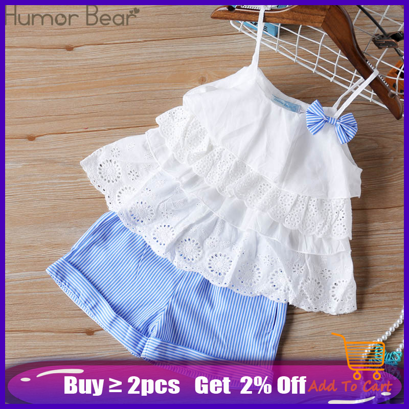 Humor Bear 2020 Girl's Clothes New Summer Children Bow Lace Sling T-shirt+Striped Short Pants Sets Kids Sleeveless Clothing Sets