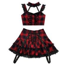 Новинка, японский стиль Харадзюку, красная клетчатая плиссированная юбка с высокой талией для девочек милые мини-юбки в стиле Лолиты Kawaii, ка...