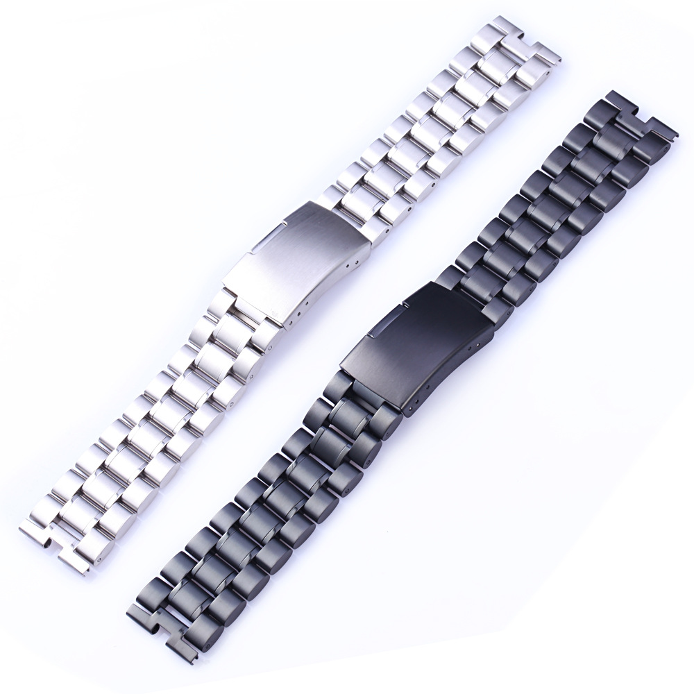 Black Silver Watchbands 22mm High Quality Stainless Steel Watch <font><b>Band</b></font> Bracelet For Motorola <font><b>Moto</b></font> <font><b>360</b></font> 2nd 46mm image