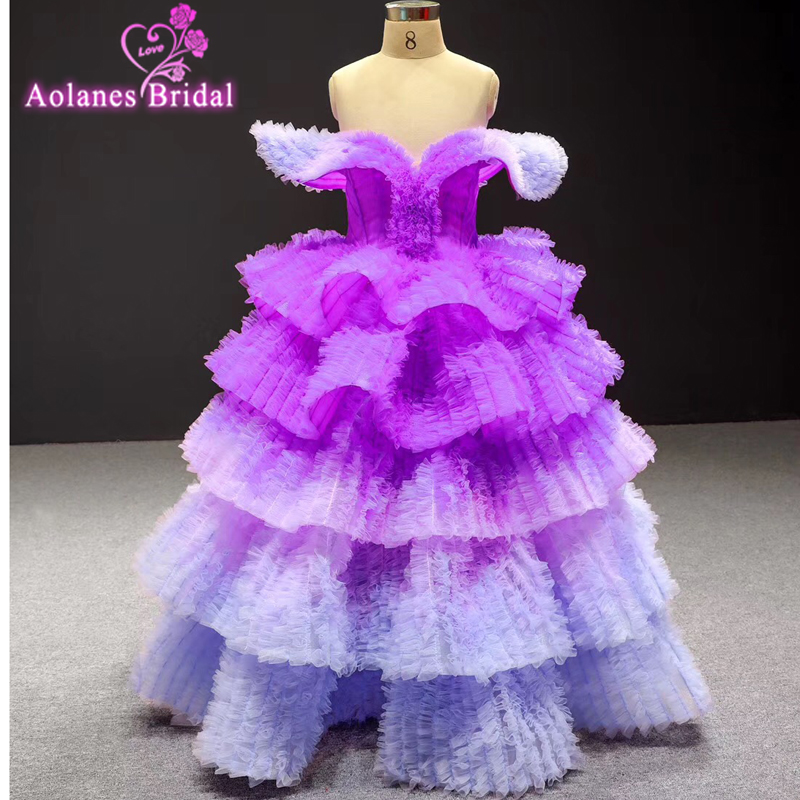 Purple Color Cute Puffy Flower Girl Dresses With Crystal Ruffles Tiered Floor Length Kids Dress Communion Dresses Pageant Party