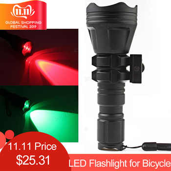Torches B158 Convex Lens Zoom Flashlight LED Torch Hunting Light Aluminum Self Defense Tactical Flashlight Red Green - DISCOUNT ITEM  32% OFF All Category