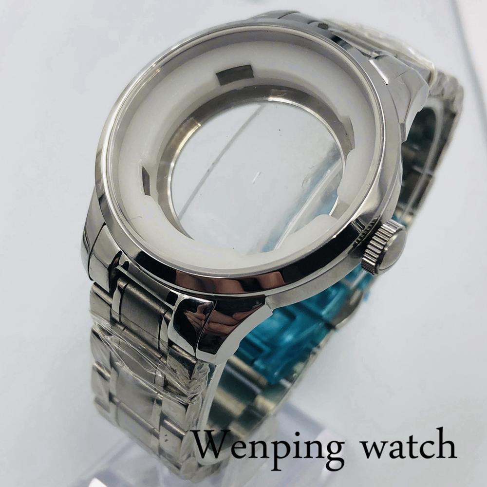 Debert 39mm silver mens watch case sapphire glass fit ETA 2836 ,Mingzhu 2813 3804 ,Miyota 8215 8205 821A movement